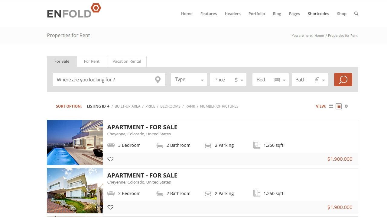Enfold + Realtyna List View