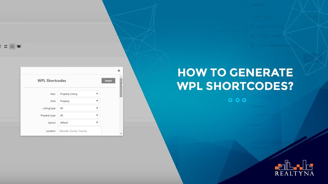 How to generate WPL shortcodes